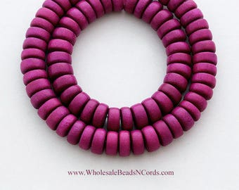 15 inch Strand 8x4mm Wood Beads RONDELLE Shape - Medium Plum Color - Natural Non Toxic Wooden Beads - Fast Ship - USA Seller 0542
