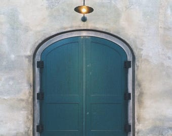 Green Door and Light, Color Photograph