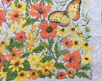 Vintage Kay-Dee tea towel with flowers and butterflies.