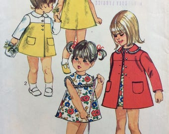 Simplicity 8668 girls coat and dress size 4 vintage 1960's sewing pattern