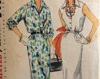 Simplicity 1114 misses shirtwaist dress size 12 bust 30 vintage 1950's sewing pattern