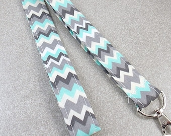 Sale! Lanyard Teacher Lanyard Nurse Lanyard  Mint Green Lanyard Fabric Lanyard Work Lanyard Key Holder Key Ring Chevron Lanyard