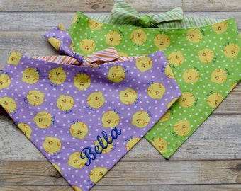 Spring Chicks on Purple Dog Bandana || Lavender and Yellow Easter Pet Scarf || Personalized Puppy Gift by Three Spoiled Dogs