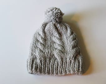 Cabled Pom Pom Hat