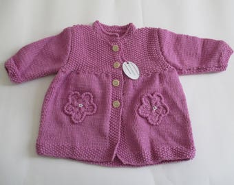 Baby coat 6/9 months cyclamen color-Handmade