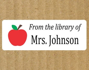 Apple Book Labels, 90 Labels, Teacher Apple, Teacher Labels, Book Labels, Teacher Book Labels, Apple Book Labels, Library Labels, Teacher