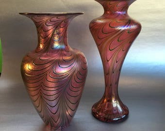 A Rare Pair of Tiffany inspired Robert Held Pink Iridescent Vintage Blown Glass Vases