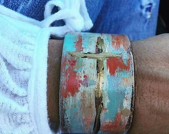 Hand painted leather cuff with cross