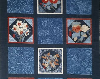 New Japanese cotton Noren quilting panel cloth - floral squares
