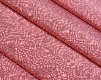 Silk crepe kimono fabric - salmon pink crescent wave - by the yard