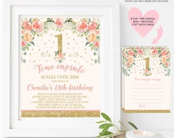 Floral Blush Pink And Gold Time Capsule + Matching Note Cards Floral Blush Pink Gold 1st Birthday Time Capsule Floral Pink Gold Birthday 4C
