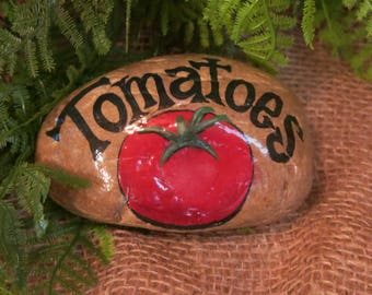 Tomatoes Rock, Garden Vegetable Marker, Veggie Stone, Painted Tomato Rock, Yard Decoration, Gardener Decor