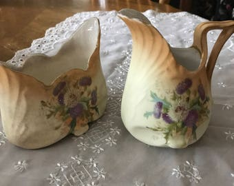 Antique, Turn of The Century,  Hand Painted, Purple/White Thistle Floral, Creamer and Sugar Bowl