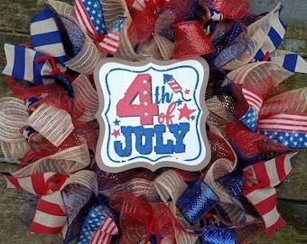 4th July Wreath, Patriotic Wreath, USA Wreath, Rustic Wreath, Memorial Day Wreath, Deco Mesh Wreath, Ribbon Wreath, Flag Wreath, Jute M