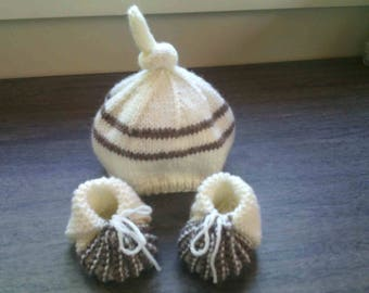 Hat and slippers baby 0/3 months