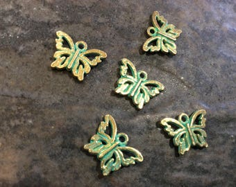 Butterfly charms package of 5 charms in antique gold with verdigris patina perfect for adjustable bangle bracelets  Great Quality