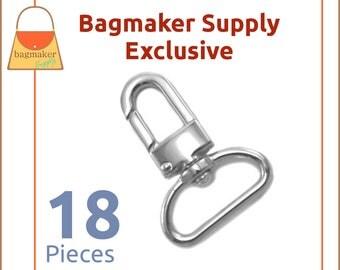 "1 Inch Swivel Snap Hook, Nickel Finish, 18 Pack, Handbag Bag Making Hardware, Purse Supplies, 1"", Lobster Claw, SNP-AA100"