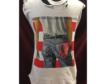 Custom Vintage Distressed Bruce Springsteen Born In The USA Tshirt