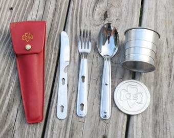 Girl Scout eating Utensils and Girl Scout cup