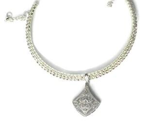 Bridal Rhinestone Collar Necklace, Bridal Necklace, Silver Rhinestone Necklace, Bridal Collar, Silver Necklace, Bridal Necklace