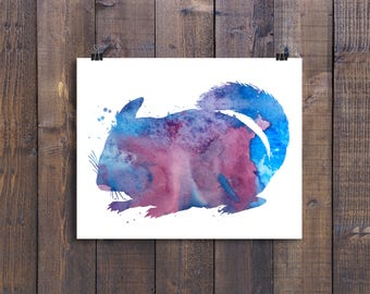 Chinchilla Print, Chinchilla Prints, Wall Art, Water color, Watercolor, Animals, Animal, Nursery, Instant printable, Download, Art Printable