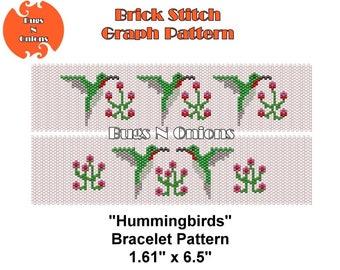 Hummingbrids, Brick Stitch Bracelet Pattern, Cuff Pattern, Instant Download