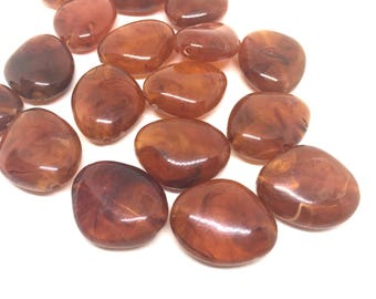 Amber Brown 31mm acrylic beads, chunky statement necklace, wire bangle, jewelry making, QUEEN Collection, oval beads, large amber necklace