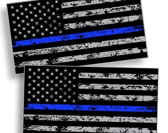 Support Police - Grunge Blue Line Sticker Decal US Flag Gun Law Enforcement Lives Matter Sheriff USA America BLM