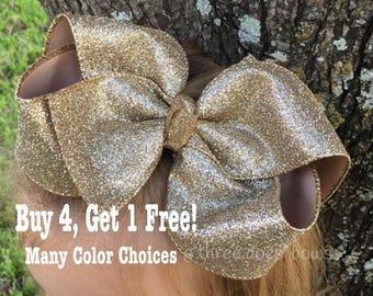 """6""""+ Gold Hair Bows, Gold Bows, Glitter Bows, Big Southern Bows. Gold Hairbows, Big Gold Hair Bow, Glitter Bows, Bows for Big Girls, Big Bows"""