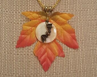 Flying Bat Necklace, Gold Tone, Free Shipping