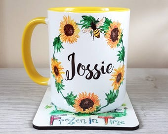 Personalised sunflower name mug floral wreath personalized mug custom coffee mug Teacher gift tea mug Gift for her Personalised mug bee