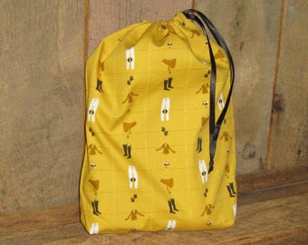 Equestrian Bootie Bag Travel Drawstring Heather Ross Fabric Ready to Ship