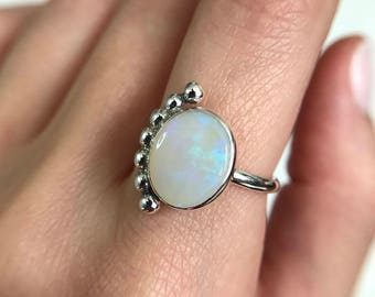 """Sterling silver """"Verona"""" ring with solid Australian crystal opal"""