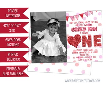 Heart 1st Birthday invitation -  Girl Photo Sweetheart Invitation - Valentine 1st Birthday Party - First Birthday Glitter Heart