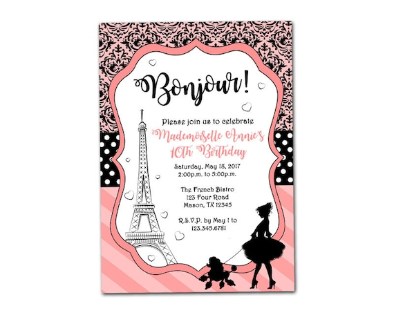 Printable Paris Invitation Paris Birthday Invitations - Invitation in french to birthday party