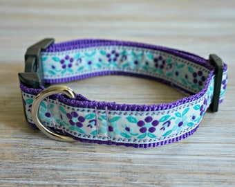 Floral Dog Collar - Blue and Purple Adjustable Dog Collar - Unique Dog Collar with Side Release