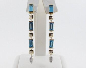 14k Yellow Gold Diamond And Blue Topaz Dangling Earrings 9.12 carats