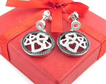 Sterling Silver Heart Circle Of Life Dandling Earrings Push back