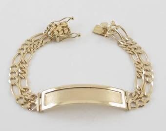 14K Yellow Gold Figaro Link Men's I D Bracelet 8 Inches 24.5 grams