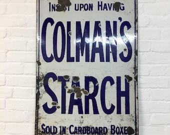 Industrial Vintage Colmans Startch Advertisng Enamel Sign