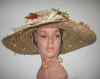 1950's-60's HUGE Straw Sun Hat with Raffia Flowers!