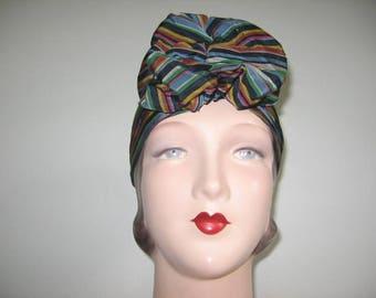 RESERVED / Layaway Payment #2 / 1930's Rainbow Stripe Taffeta Bow Turban!