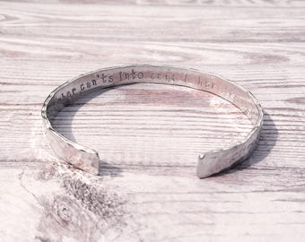 She Turned Her Can'ts into Cans, Hand Stamped Inspirational Quote Cuff, Secret Message Bracelet, Hammered Texture Jewellery, Gift For Her