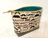 Large Big Mouth Bag in Moustache Overload // Open Wide / Zippered Wedge Project Bag