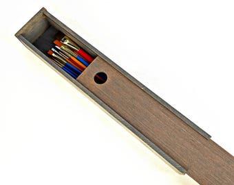 Wooden Wand Box, Rustic Gift Box, Sliding Lid Box, Paintbrush Storage, Craft Supply Case, Weathered Grey Box, Engraved Gift, Long Skinny Box