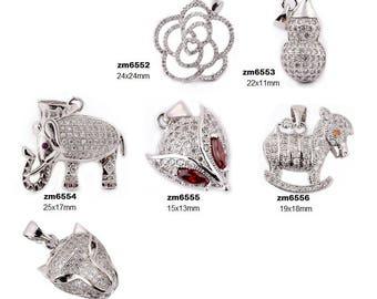 925 Silver Diamond Necklace Pendant-WEN542394743957-GVN