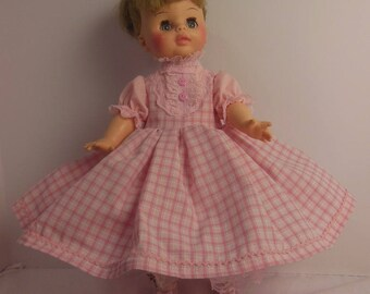 "Pink Plaid Dress Set for 15"" Horsman Ruthie Dolls"