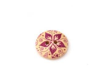 18 mm in violet flower pattern wooden button