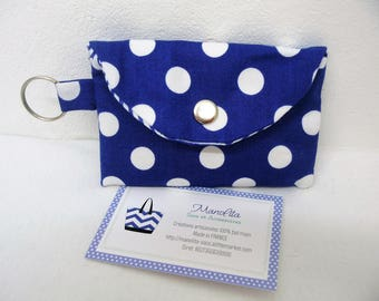 Case blue white polka dots, door-cates women, accessories cards