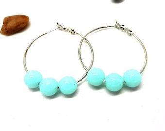 Dangle earrings hoop earrings green freshwater pearls